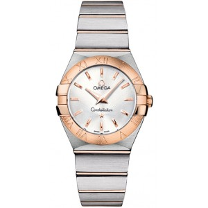 Copy Omega Constellation Brushed 27mm Ladies Watch 123.20.27.60.02.001